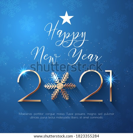 Happy New Year 2021 text design. Vector greeting illustration with golden numbers and snowflake