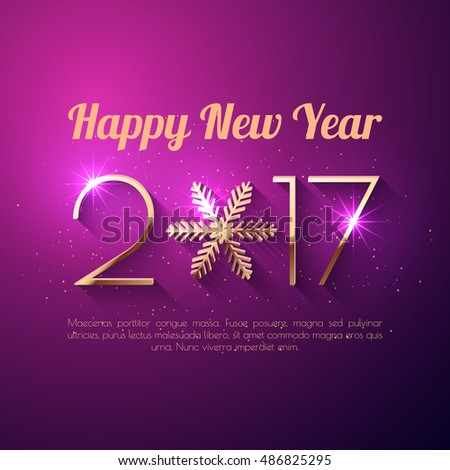 Happy New Year 2017 text design. Vector greeting illustration with golden numbers and snowflake