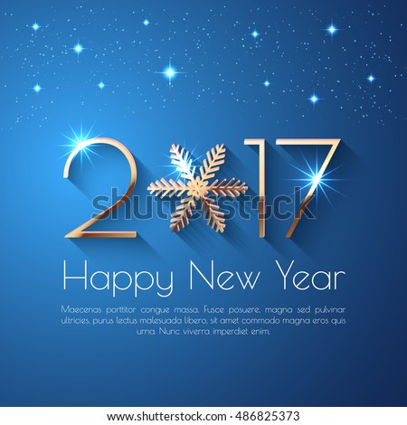 Shutterstock Happy New Year 2017 text design. Vector greeting illustration with golden numbers and snowflake