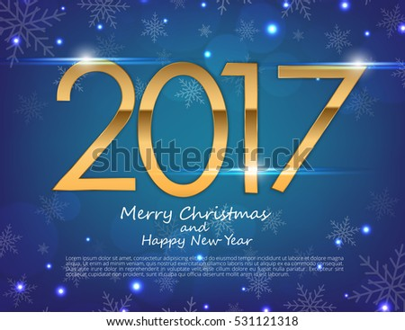 Happy New Year 2017 text design. Vector greeting illustration with golden numbers and snowflake background #531121318
