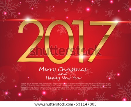 Happy New Year 2017 text design. Vector greeting illustration with golden numbers and snowflake background #531147805