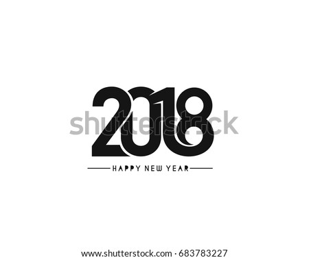 Happy new year 2018 Text Design Vector illustration