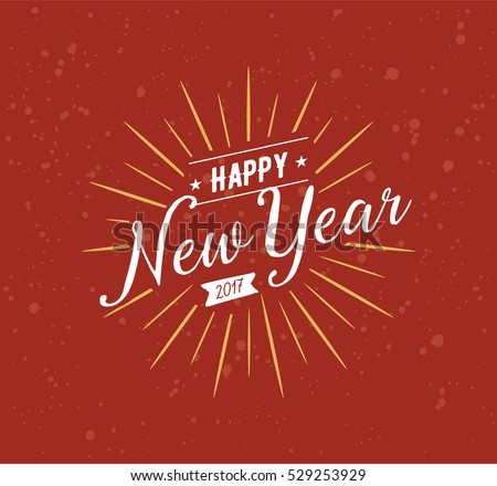 happy new year 2017 text design vector logo typography usable as banner