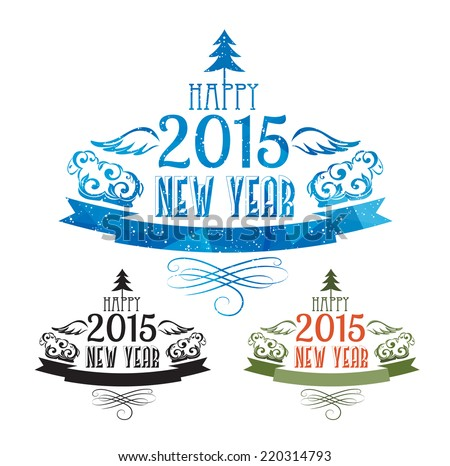 Happy new year 2015 Text Design with copy space on the ribbon for your text.