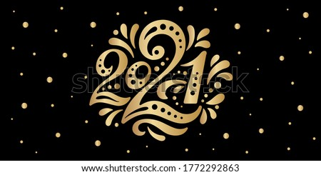 Happy New year 2021. The logo of number 2021 is in Russian style with curls. Vector web banner, poster, greeting for social networks and media. Gold logo 2021 on black background with golden sequins