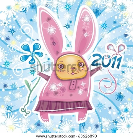 Happy Chinese New Year Card Rabbit. stock vector : Happy New Year