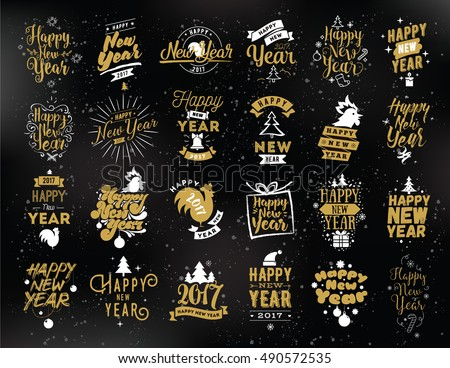 Happy New Year 2017 typographic emblems set. Vector logo design. Black and gold. Usable for banners, greeting cards, gifts etc. #490572535