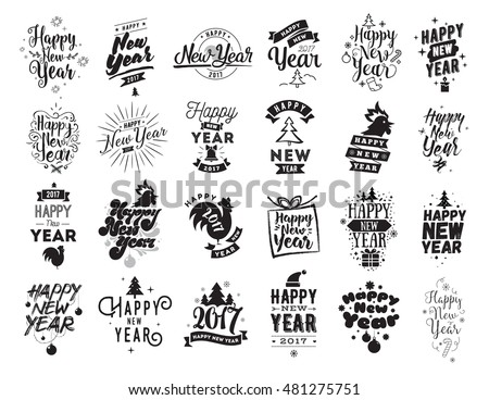 happy new year 2017 typographic emblems set vector logo design black and white usable for banners greeting cards gifts etc