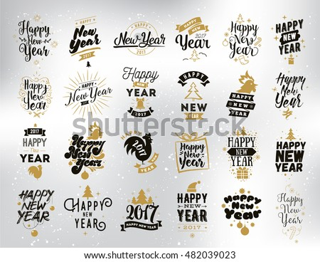 happy new year 2017 typographic ...