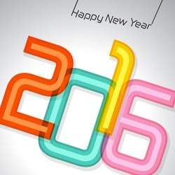 Happy new year 2016, typographic illustration. Calendar cover design