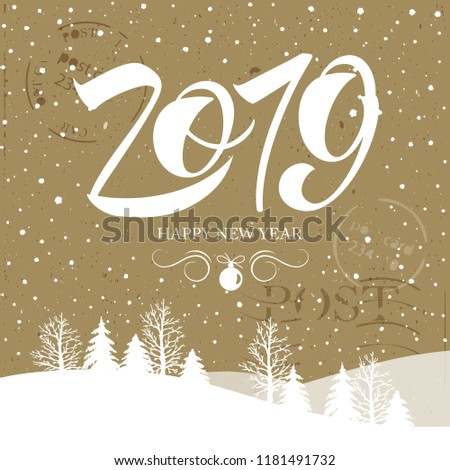 Happy New Year 2019  typography vector design for greeting cards and poster. 2019 vector number  Calligraphic Lettering design card template. Calligraphic handmade lettering. Vector illustration.