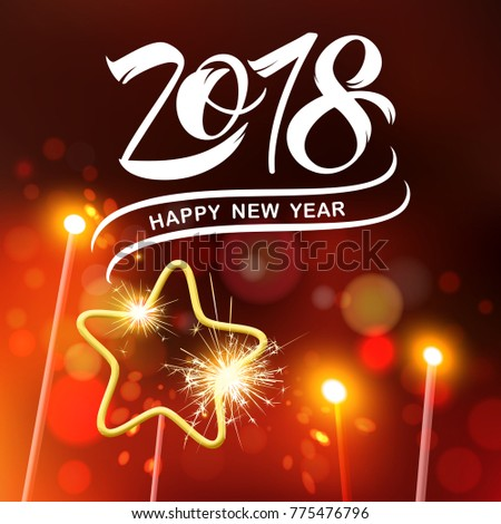 Happy New Year 2018  typography vector design for greeting cards and poster. 2018 vector number  Calligraphic Lettering design card template. Calligraphic handmade lettering. Vector illustration.