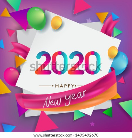 Happy new year 2020 typography vector design for greeting cards and poster with balloon, confetti, design template for new year celebration.