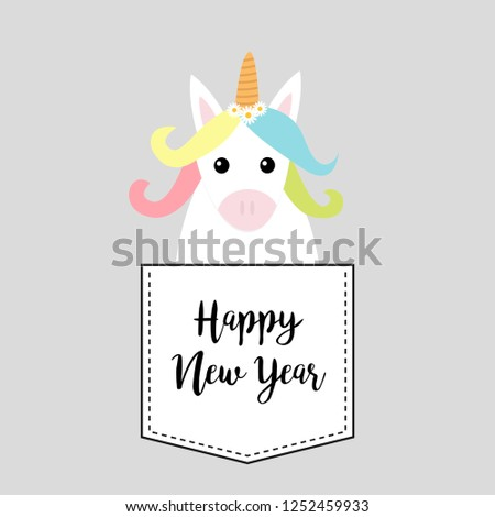 Happy New Year. Unicorn horse sitting in the pocket. Red bow. Merry Christmas. Face and hands. Cute cartoon character. Hello winter. Gray background. Flat design. Vector illustration #1252459933