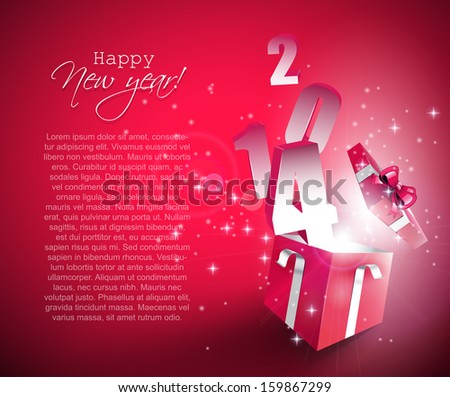 Happy New Year 2014 vector background with open gift box