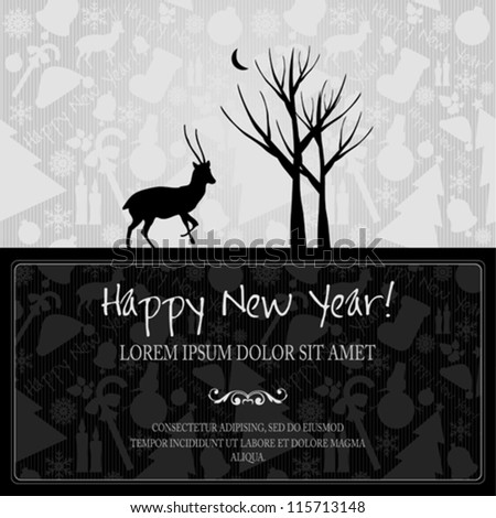 Happy New Year vector card or background with ribbons, Santa`s hat, snowman, candles, snowflakes, deer, tree, balls, stars.