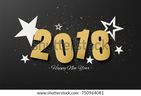 happy new year 2018 vector design