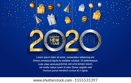 Happy New Year 2020. Vector Design for Background, Wallpaper, Banner, Greeting, Invitation card and Premium  Celebration Event.