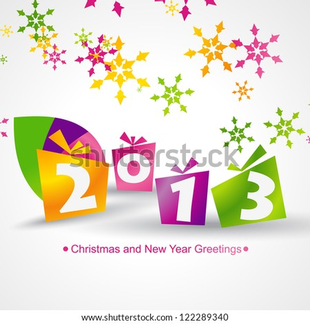 happy new year vector design in gift shapes