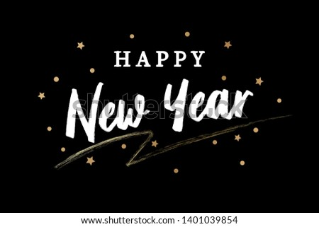 Happy New Year. Vector Golden Text. Greeting card. #1401039854