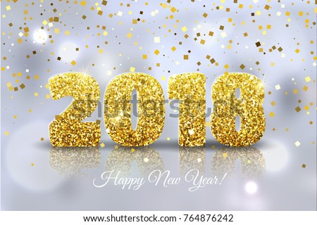 happy new year 2018 vector happy new year festive background with gold confetti