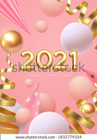 Happy New 2021 Year. Vector holiday illustration. Festive decoration. Golden realistic 3d numbers. Art installation with geometric primitives. Sweet and dreamy NYE poster. Festive banner design