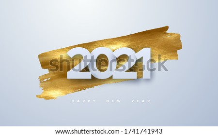 Happy New 2021 Year. Vector holiday illustration of paper cut numbers on golden paint background. Festive event banner. Decoration element for poster or cover design