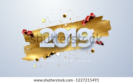 Happy New 2019 Year. Vector holiday illustration of paper cut numbers with sparkling confetti particles, golden stars and streamers. Festive event banner. Decoration element for poster or cover design