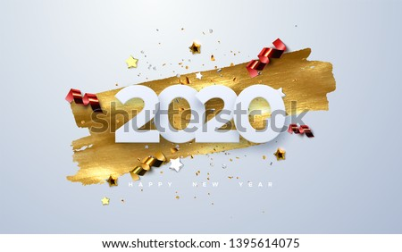 Happy New 2020 Year. Vector holiday illustration of paper cut numbers with sparkling confetti particles, golden stars and streamers. Festive event banner. Decoration element for poster or cover design