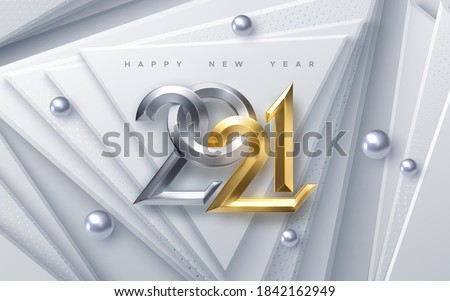 Happy New 2021 Year. Vector holiday illustration. Silver and Golden 3d numbers on white abstract paper cut background. Winter festive event banner. Geometric triangle shapes. Poster or cover design