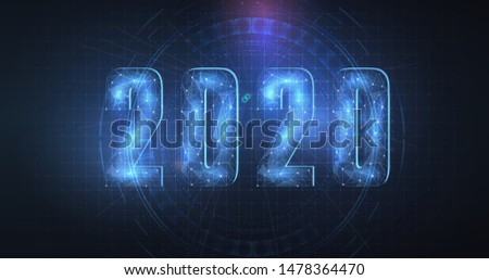 Happy New 2020 Year. Vector holiday illustration. Wireframe neon numbers 2020. New years 2020 form lines, wireframe, triangles and particle style design. Low poly 3D date number holiday greeting card
