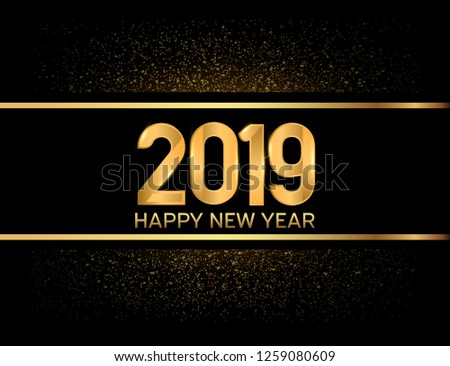 Happy new year 2019. Vector illustration design with elegance golden glitter isolated on black background #1259080609