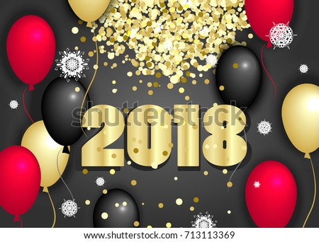 Happy New Year vector illustration. Golden glitter and balloons. #713113369