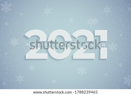 Happy New Year 2021. Vector illustration of a paper cut holiday with sparkling confetti particles. A festive event banner. Decoration elements for poster or cover designs