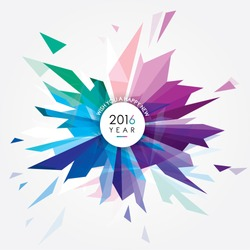 Happy New 2016 year vector illustration with creative colorful abstract geometric shape forming a glass fireworks burst made of triangles