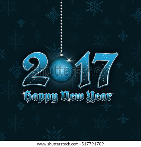 Happy New Year 2017 vector illustration with hanging bauble and snowflakes pattern. #517791709