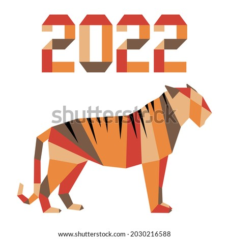Happy new year Vector illustration with origami 2022 year numbers Tiger Annual animal zodiac sign, symbol of 2022 on the Chinese calendar. Year of the tiger. Chinese horoscope Festive Design for print