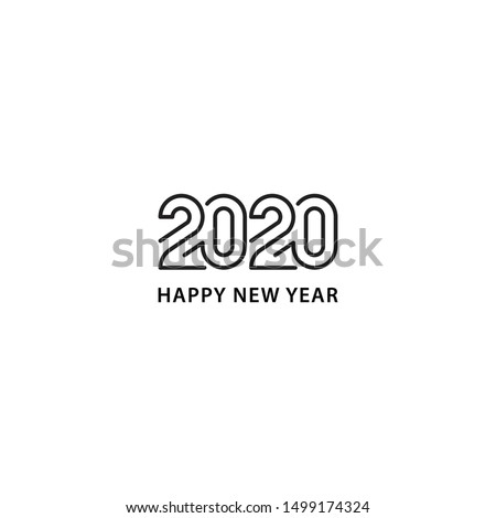 Happy new year 2020. Vector logo icon template