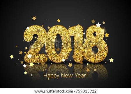 happy new year 2018 vector new