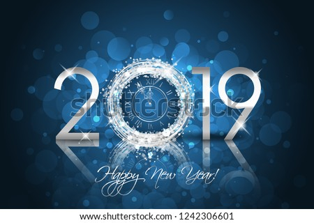 Happy New Year 2019 - Vector New Year card with silver clock on blue background
