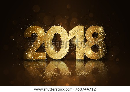 happy new year 2018 vector new year festive background with gold glitter