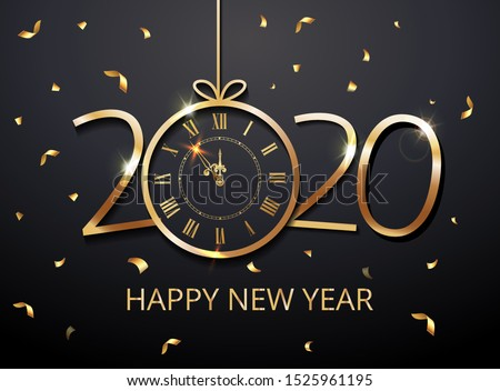 Happy New Year 2020 vector - New Year Shining background with christmas ball gold twelve o clock and glitter confetti, gold numbers. Festive premium concept template for holiday. EPS 10