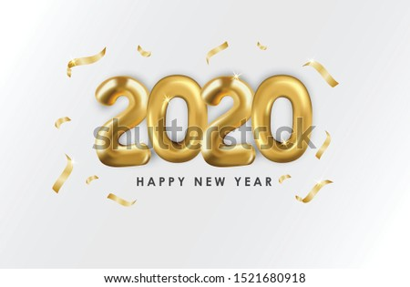 Happy New Year 2020. Vector realistic 2020 balloons in 3D style in gold color. can be used for calendar design, greeting cards, banners, posters, headlines and so on