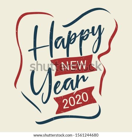 Happy New Year vintage letter for greeting card or background. Vector letter Happy New Year for element design. Vector illustration EPS.8 EPS.10