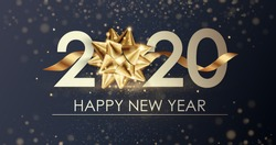 Happy New Year 2020 winter holiday greeting card design template. Party poster, banner or invitation gold glittering stars confetti glitter decoration. Vector background with golden gift bow