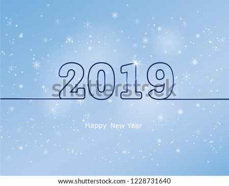 Happy new year 2019. Winter sky with falling snow. Falling snow, snowflake on a blue sky. Falling snow background. Snowfall background. Vector illustration