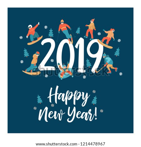 happy New Year. Winter sports and fun activities in the snow. People skiing, skating, sledding, snowboarding. Set of characters around the big numbers 2019. Vector illustration.