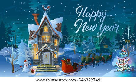 happy new year winter time