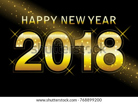 happy new year 2018 with golden glitter on black background text design gold colored vector elements for calendar and greeting card ez canvas