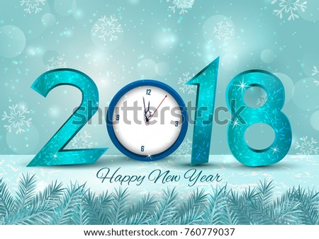 happy new year 2018 wishes greeting card template background design in vector
